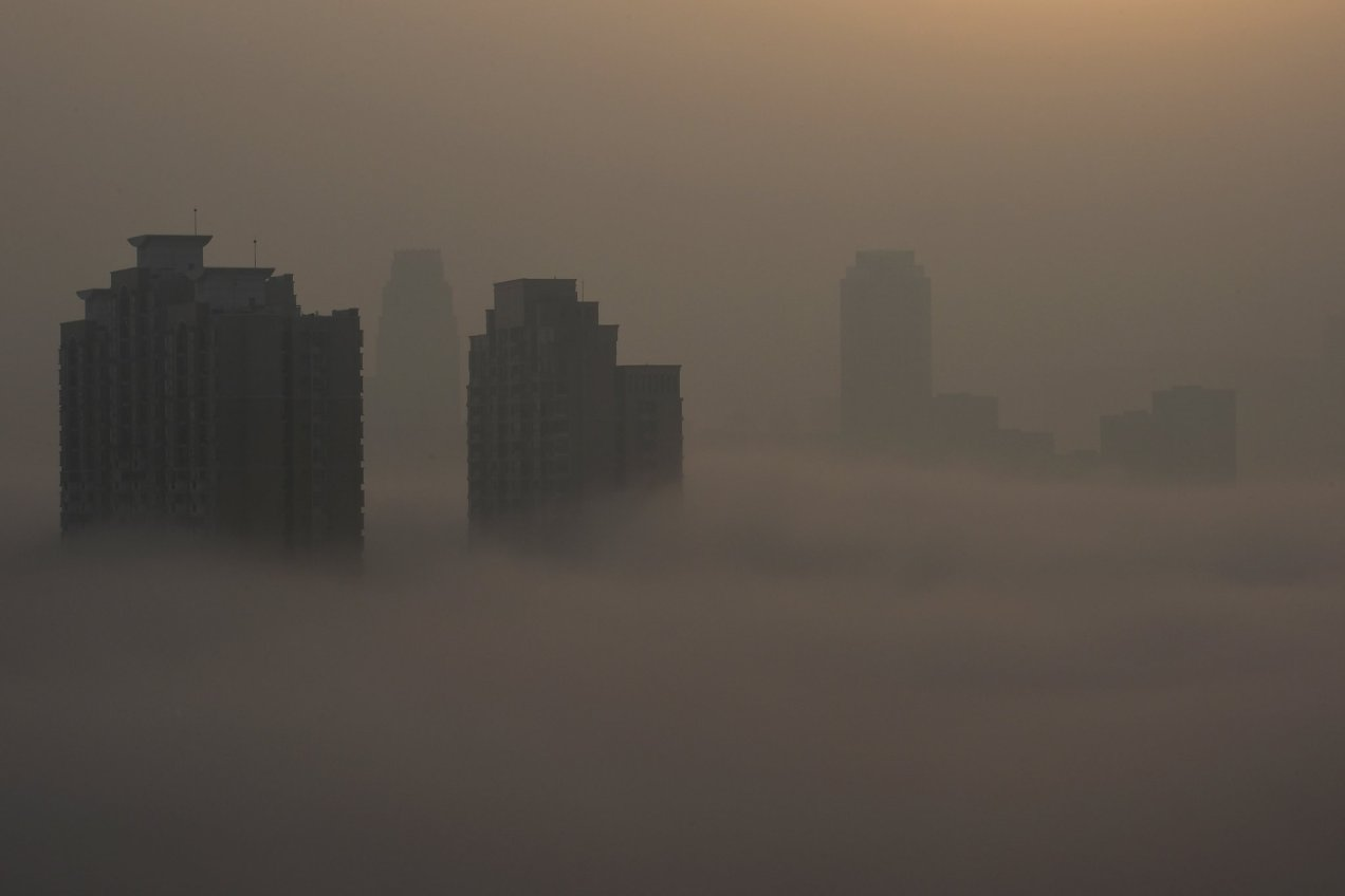 A photo of pollution in Wuhan