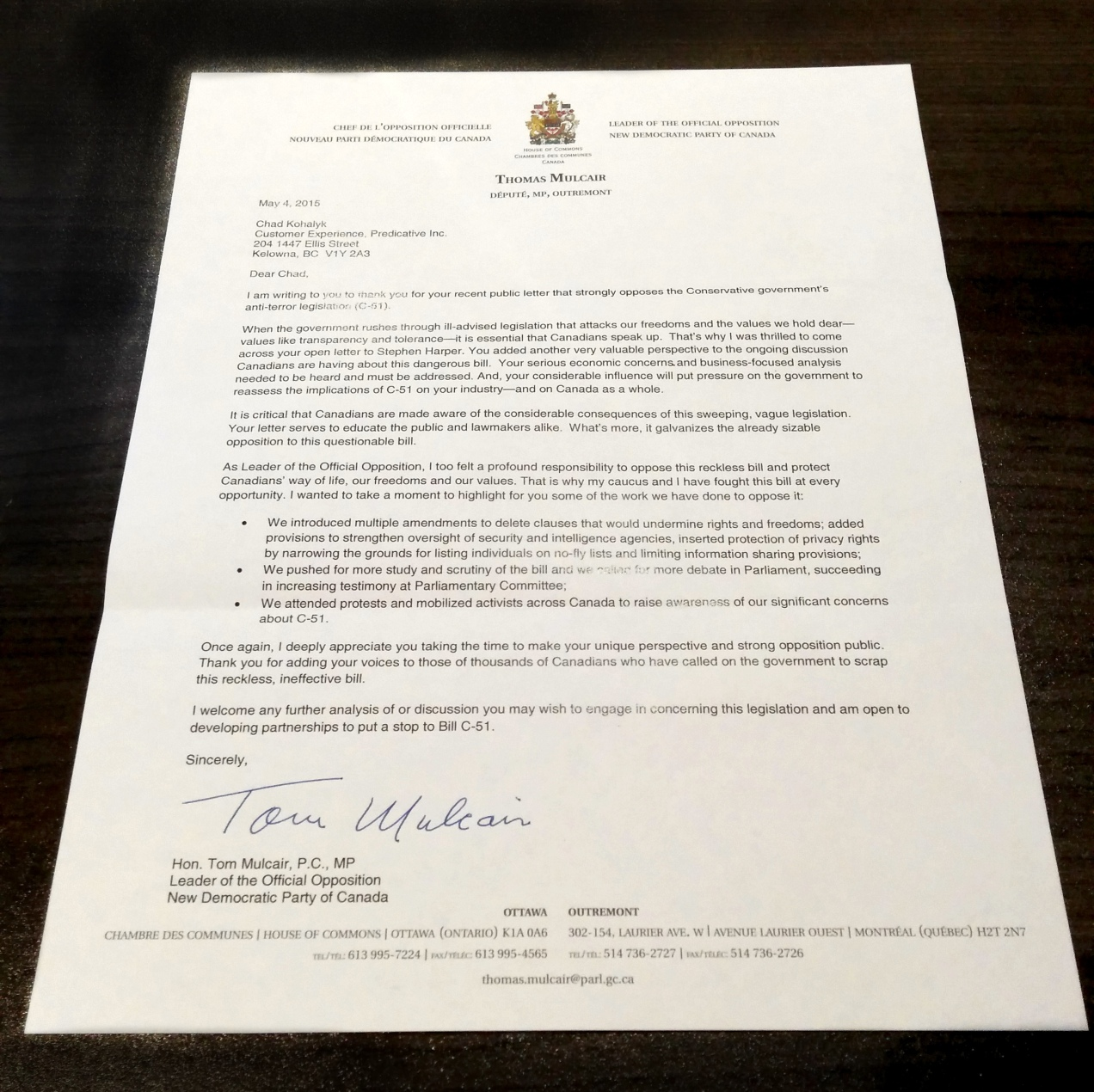 letter from tom mulcair