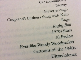 One of his famous lists of seemingly random things.
