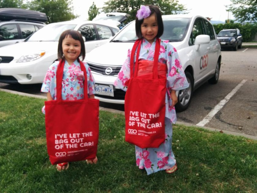 My kids as cute propaganda devices for Ogo Carshare.