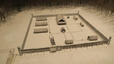 Depiction of a Soviet labour camp