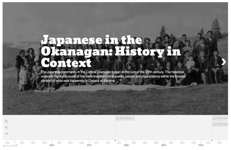 Japanese in the Okanagan timeline