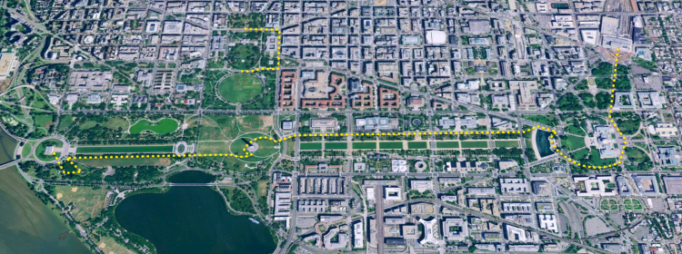 satellite photo with line representing walking path