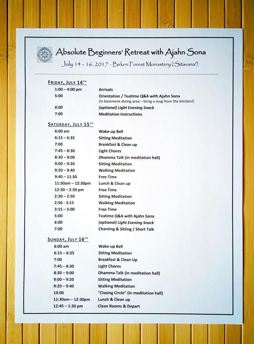 2017 Retreat schedule