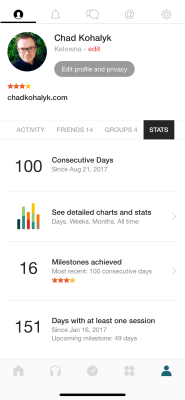 screencap of InsightTimer profile page