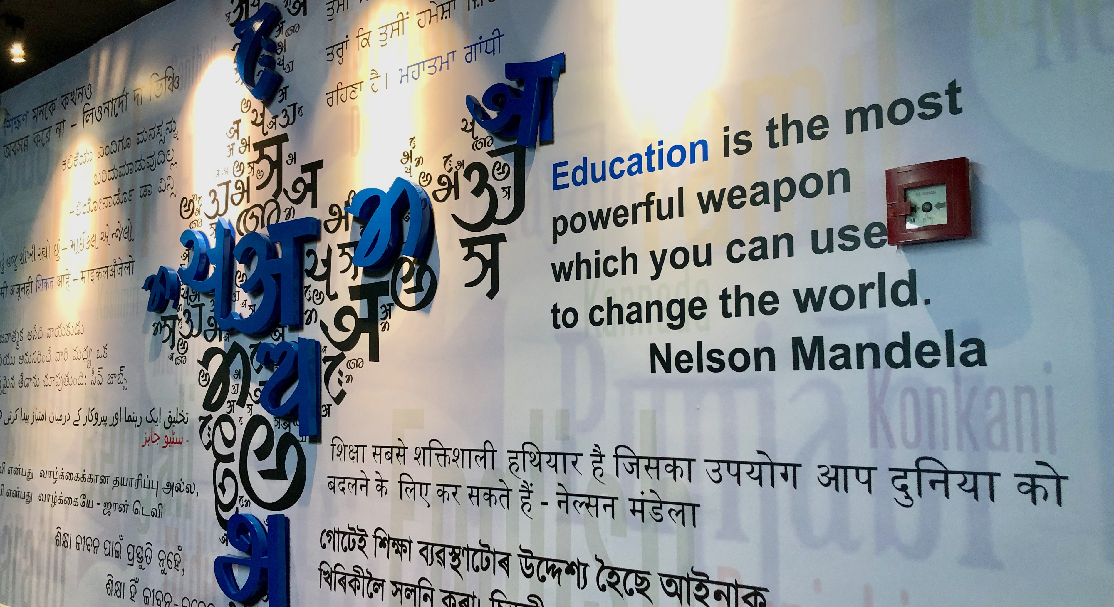 "a mural with the quote ""Education is the most powerful weapon which you can use to change the world. - Nelson Mandela"" in all of India's writing systems, around a composite map of India made up of characters from different languages"
