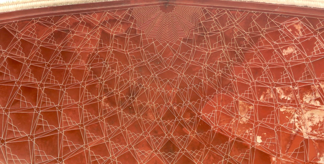 geometric patterns of cieling of gate to Taj Mahal