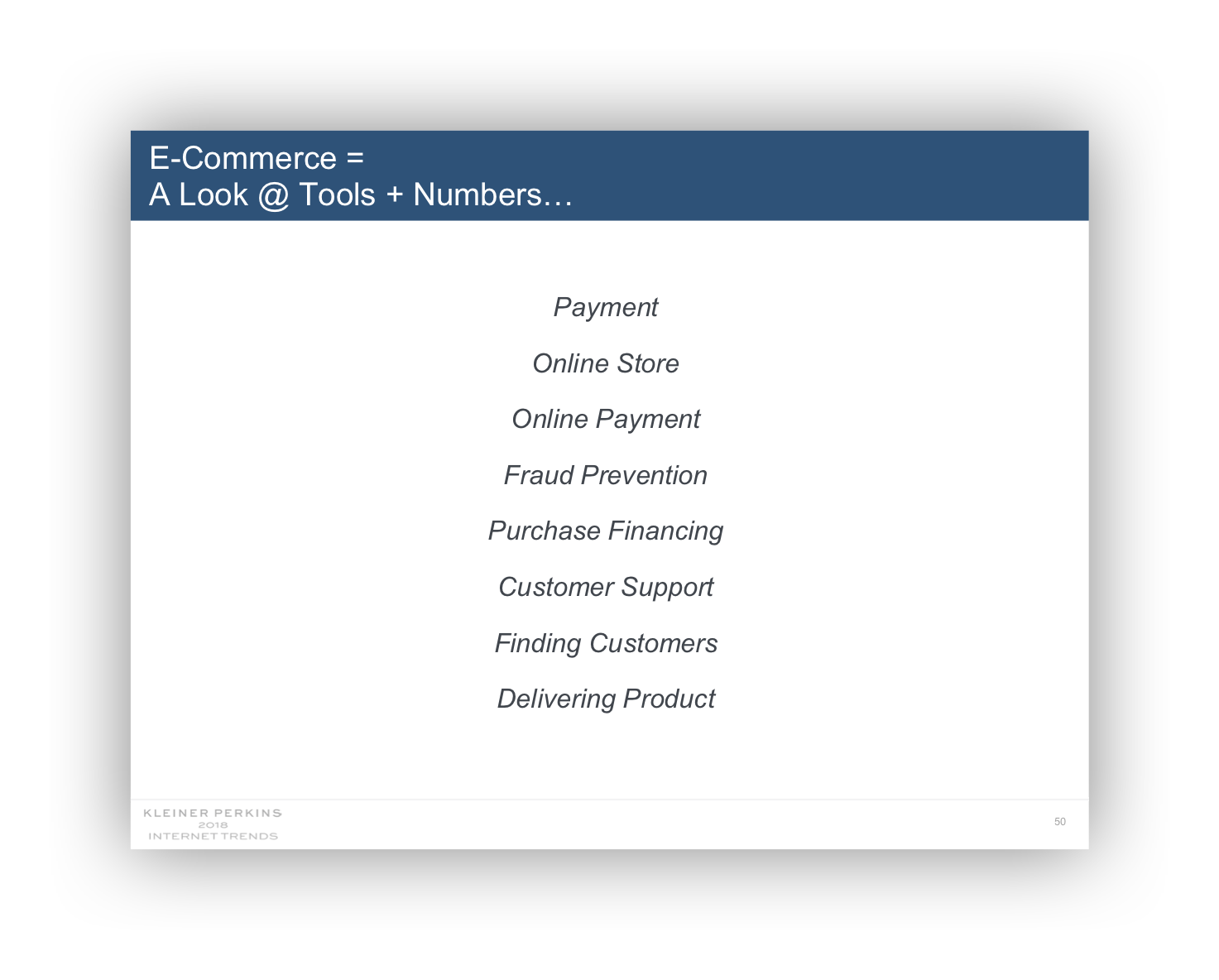 Slide containing text:  E-Commerce = A Look @ Tools + Numbers...  Payment Online Store Online Payment Fraud Prevention Purchase Financing Customer Support Finding Customers Delivering Product