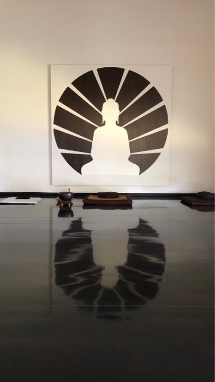 mural of Buddha with rays of light emanating from him, and reflection on floor