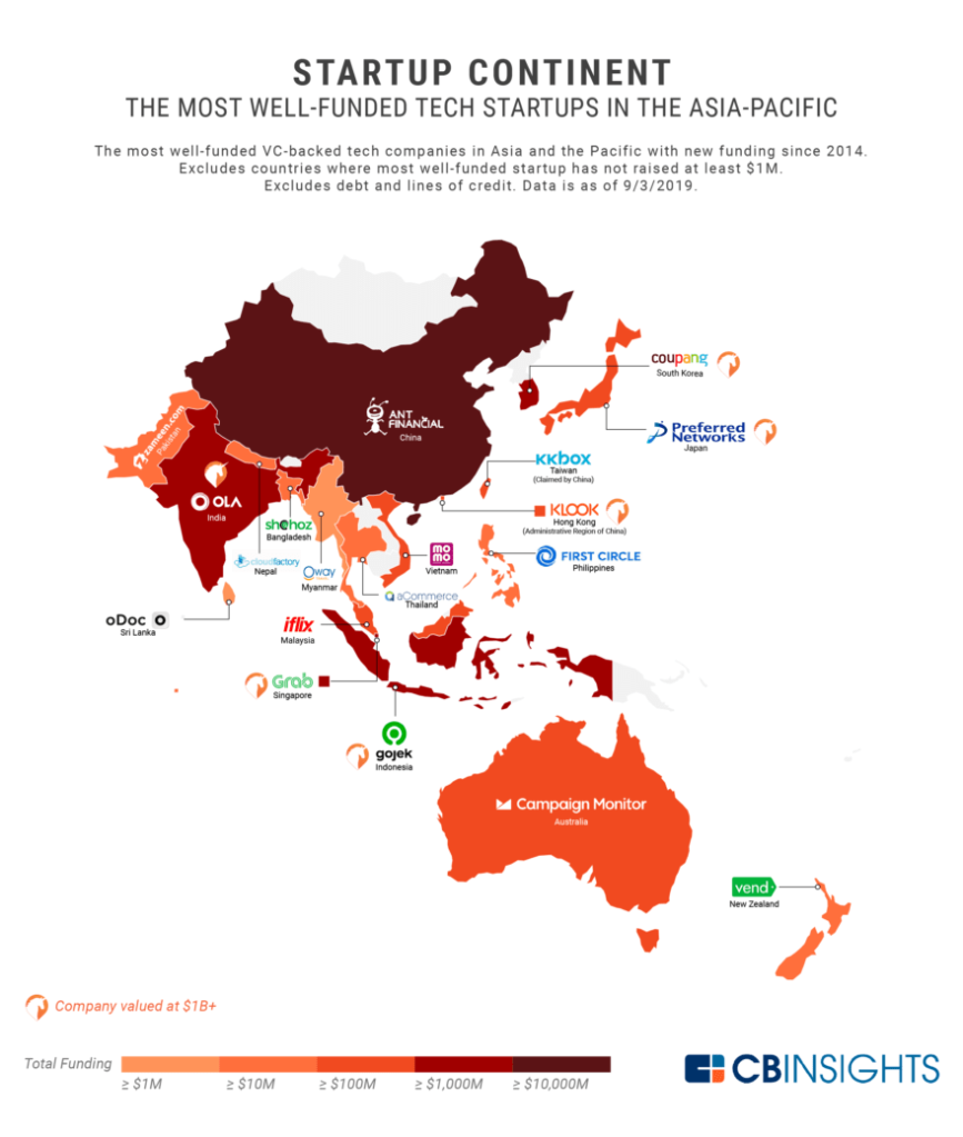 Map of the most well funded started in Asia-Oceania