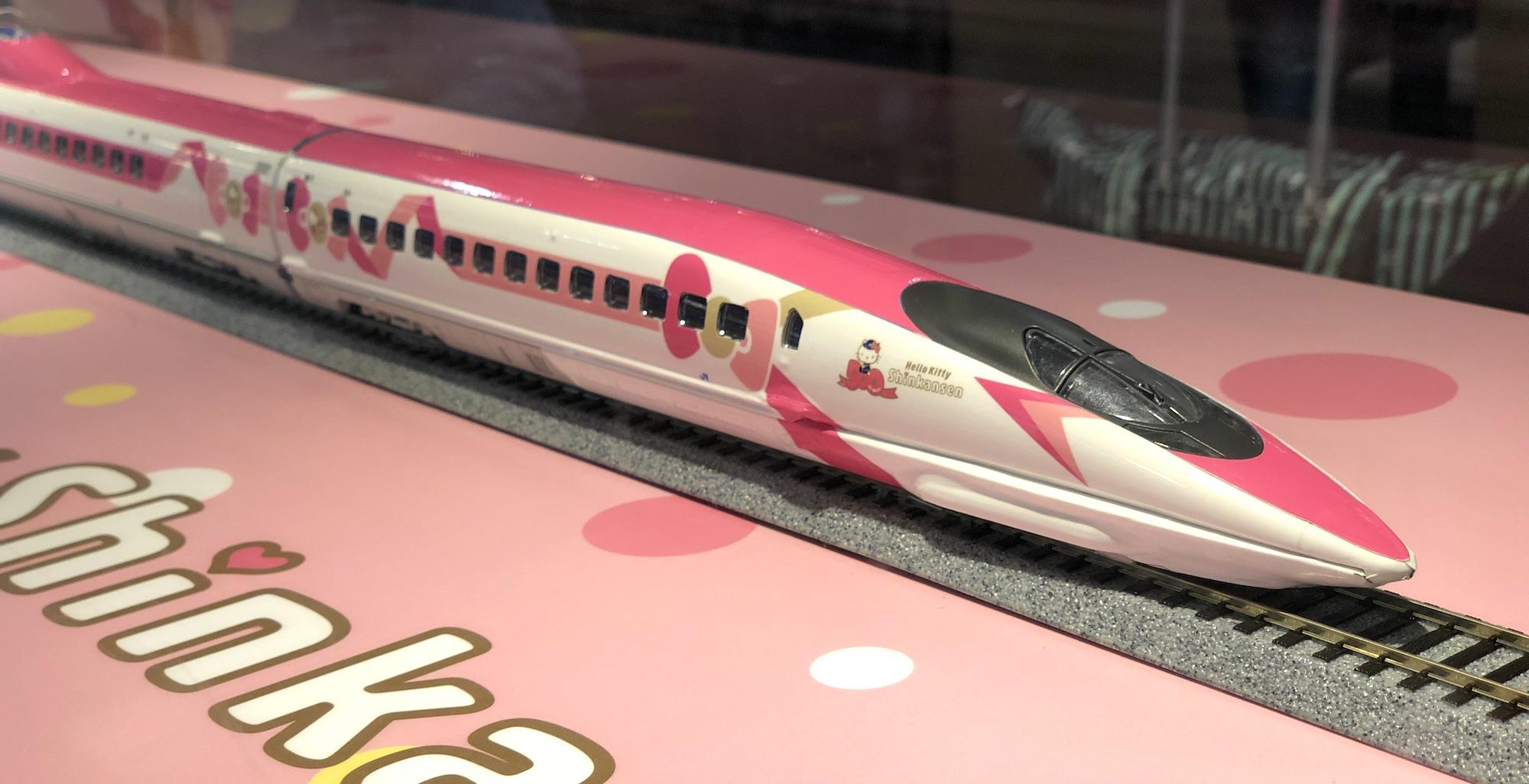 Model Shinkansen train in Hello Kitty colours
