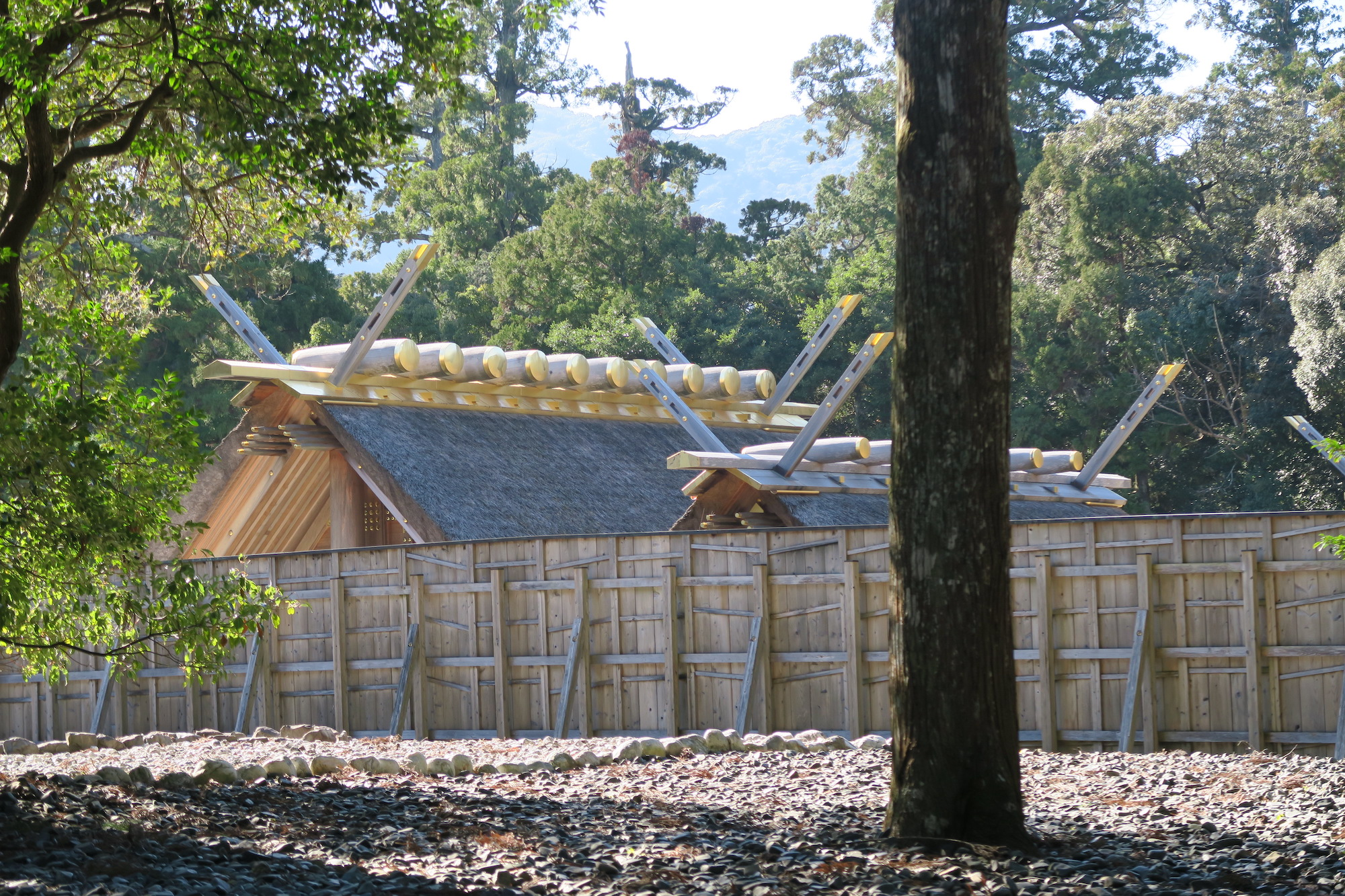 Closeup of the main Ise shrine buildings