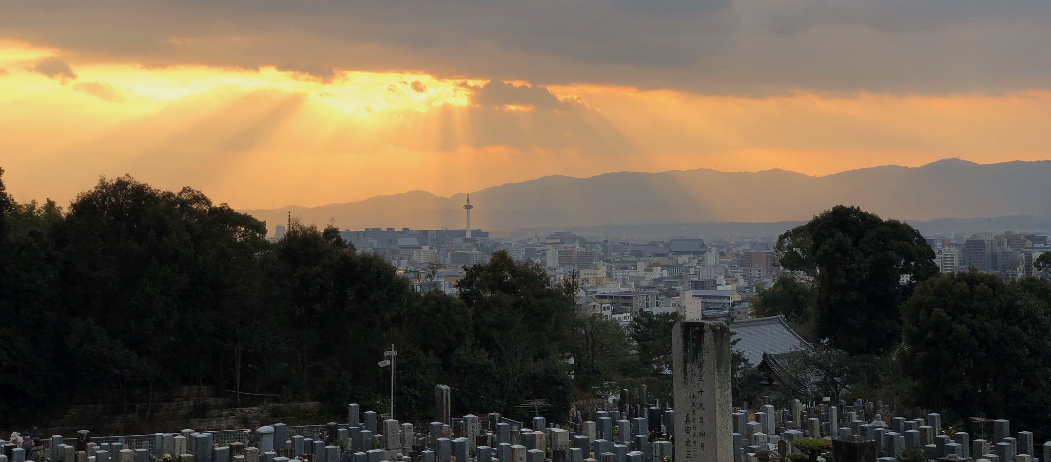 Sun rays on Kyoto tower as we visit the grave