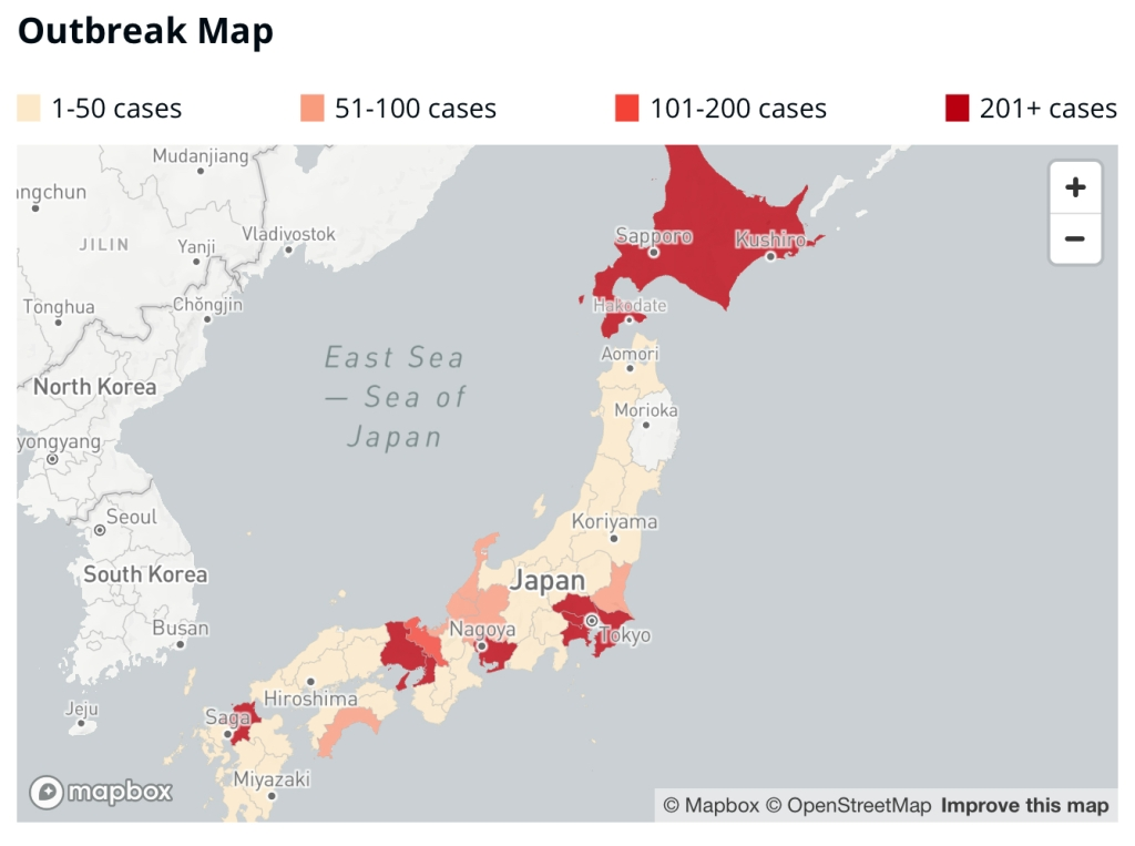 Outbreak map of Japan from https://covid19japan.com