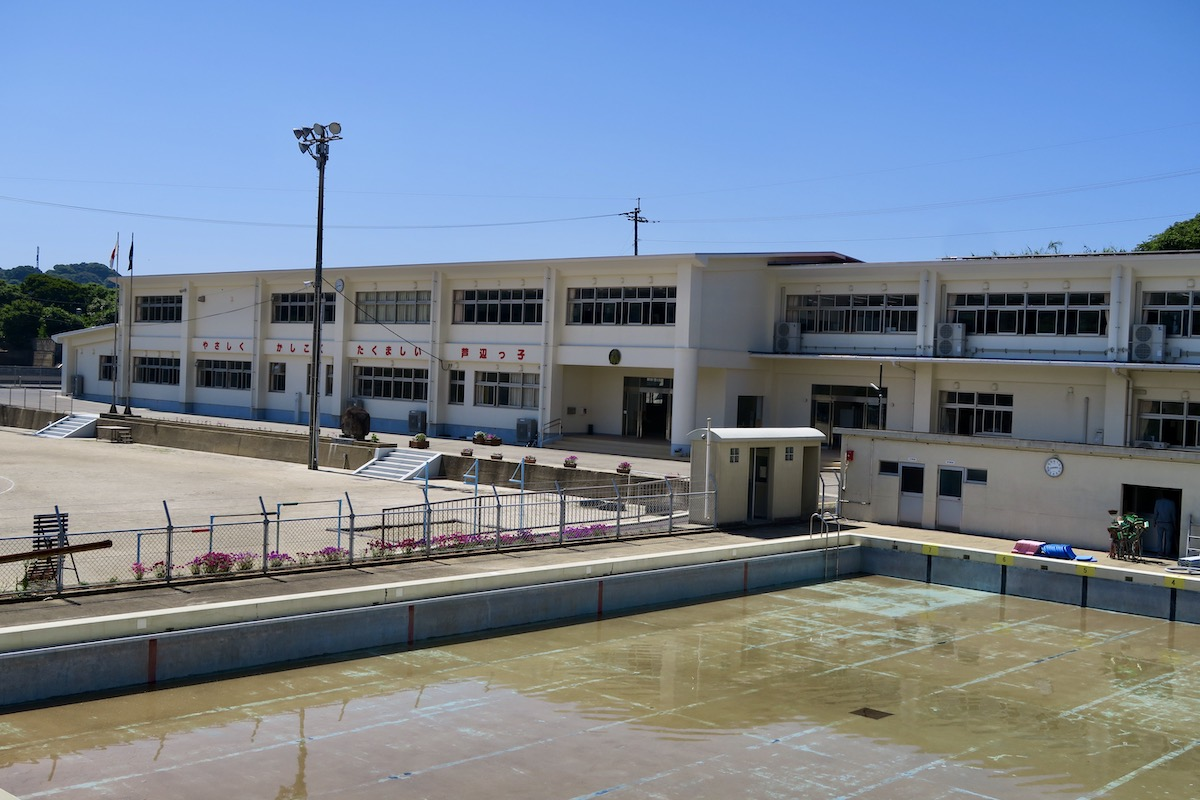 School in background, swimming pool in foreground