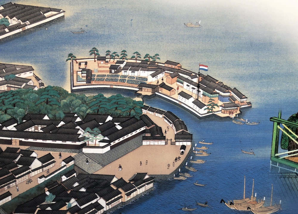 Painting of Dejima, with its single bridge.