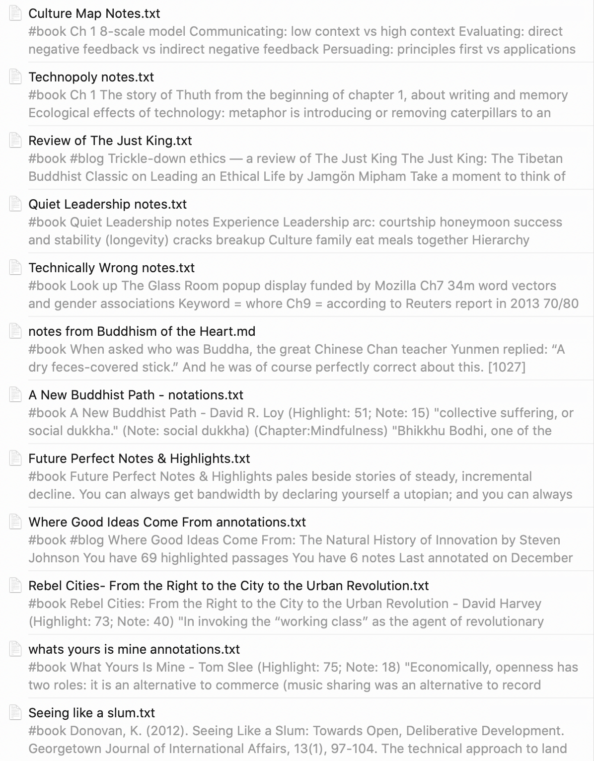 Screencap of book notes. Most are just exports of the annotations from Kindle.