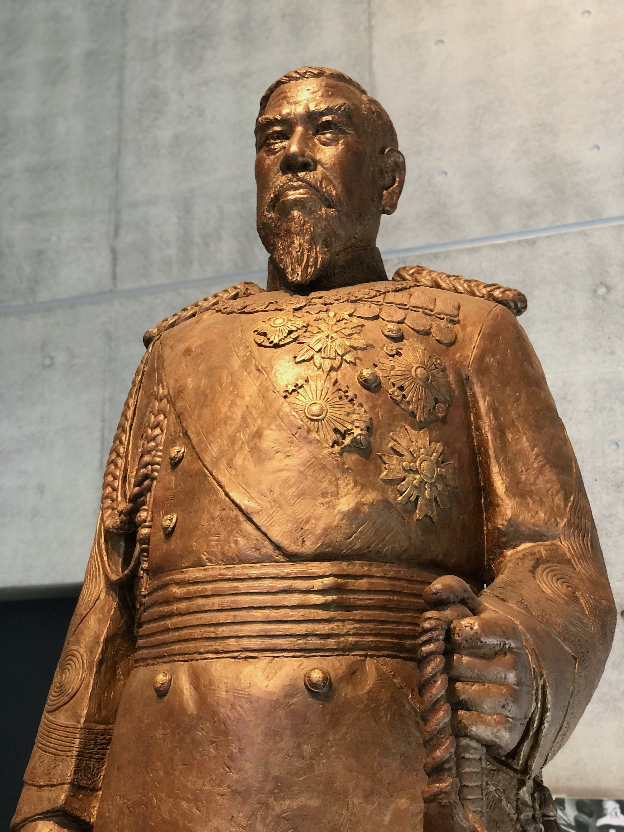 Statue of Meiji emperor in military regalia
