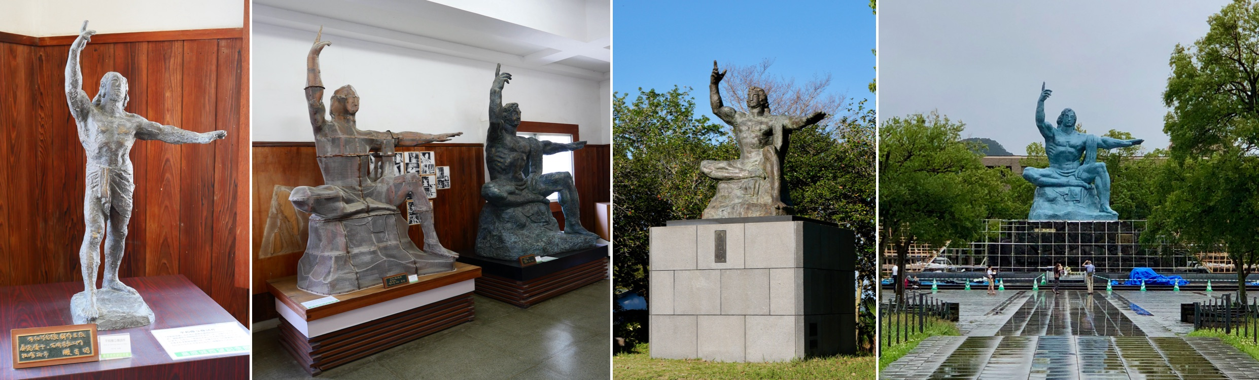 collage of four images showing various versions of the same statue