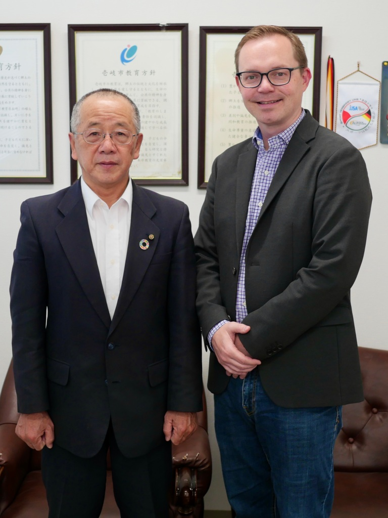Chad poses with Kubota-sensei in his office